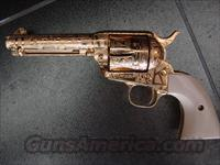 Colt SAA,Jeff Flannery Cattlebrand master engraved,real ivory grips,24K gold plated,45LC,4 3/4