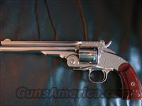 "Navy Arms Schofield 45LC,7"",bright high polished nickel,Uberti-Italy,beautiful high gloss grips & Dan Maker Brooks leather holster-super nice gun !!"