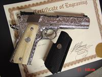 Colt Gold Cup Trophy,45,fully engraved & polished by Flannery Engraving,custom Giraffe bone grips,2 mags,certificate,manual,awesome 1 of a kind masterpiece !!