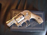 "Smith & Wesson Model 49 no dash,fully deep scroll engraved,Stag grips,1 3/4"" barrel,38 special,satin nickel,another work of art !! awesome !!"