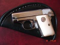 Colt 1908 Vest Pocket 25 ACP, fully refinished in bright mirror nickel,bonded ivory grips,hammerless,made 1923, a real showpiece - awesome !!!!