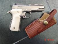 "Llama 380,3 1/2"" barrel, R1,mini 1911 style,made circa 1973,fully refinished in bright nickel,bonded ivory grips & leather holster,super nice !!"