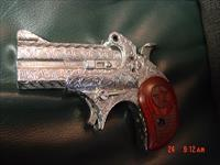 "Bond Arms Derringer fully engraved by Flannery Engraving,polished stainless,rosewood grips,Cowboy Defender model 410/45LC,3"" hand cannon,awesome work of art,& 1 of a kind !!NIB with all papers"