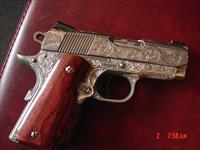 "Colt Defender,3"" engraved & polished by Flannery Engraving,custom Rosewood grips,45acp,certificate,white dot sites,1 of a kind work of art !!"