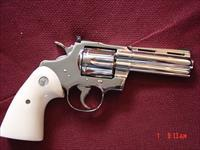 "Colt Python 4"" 1971,refinished in bright mirror nickel in Nov 2016,bonded ivory grips,357 magnum,a real showpiece !!"