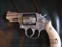 Smith &  Wesson Model 66-3,Combat Magnum,357 magnum, fully deep scroll engraved, beautiful REAL ivory grips,satin stainless,2 1/2