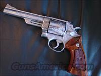 "Smith & Wesson 57-2,41 Magnum,deep scroll engraved,by Clint Finley-Master Engraver ion Ca.,Armoloy coated-very strong finish,6"",wood grips,awesome one of a kind showpiece-rare !!"