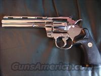 "Colt Python 6"",357 Magnum,1979,& fully refinished in Aug 2014,bright high gloss nickel,black Colt grips,& nicer than new -awesome showpiece & shooter."