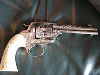 "Colt Bisley 1910,refinished nickel,master scroll & cattlebrand engraved by Dwayne Woody,real carved ivory with horse head,4 3/4"", 105 year old work of art-awesome !!"