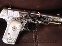 Colt 1903 Pocket Hammerless,32ACP,fully refinished in bright nickel & matt nickel,Master scroll engraved,Pearlite grips,1927,87 years old,grip safety,certificate from engraver-a real showpiece-period !!