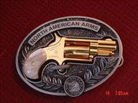 North American Arms,Golden Eagle,Ltd edit.,in belt buckle,metal safe 24k gold plated,pearl grips,22LR,1 1/8
