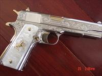 "Colt Government 5"" 38 Super,master engraved by S.Leis,refinished bright nickel,& 24K gold accents,Pearlite grips,2 mags,case & papers,certificate,a true work of art !!"