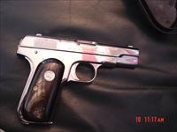 Colt 1903,32 caliber,fully refinished in bright nickel,real Ox Horn grips,hammerless,grip safety,made in 1916-looks better than new