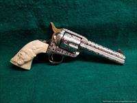 "Colt SAA Engraved by Bob Valade,Cattlebrand style,41 Colt,4.75"" made in 1912,carved ivory grips with dia & rubies,nickel with 24k accents,nicer in person-awesome 1 of a kind showpiece !!"