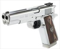 "Arsenal Firearms AF2011- Double Barrel 45 auto,2-5"" barrels,,satin & mat stainless,,manual,etc & made in Italy. hard to find-5"" barrels, 16 shots in fired 3-5 seconds,4.5 pounds,seen in Bond movies. ! awesome looking pistol !!"