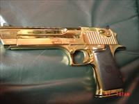 "Magnum Research Desert Eagle 50AE, rare Titanium bright mirror gold,6""top rail,case,manual,DVD,etc. a true showpiece hand cannon !!Mark XIX"