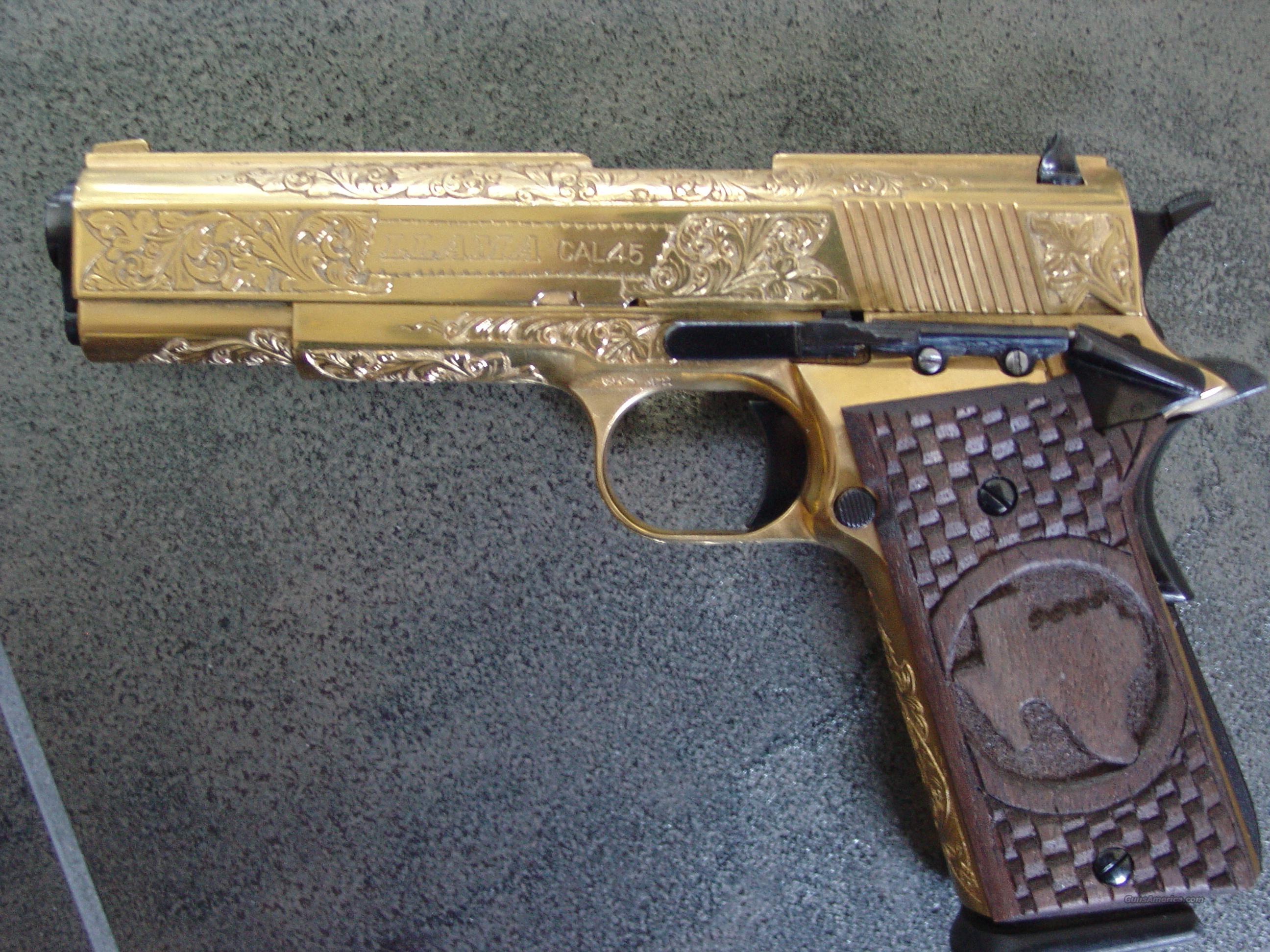 Llama 45 acp,deep relief hand engraved,24K gold plated,custom Texas Mesquite