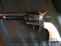 "Colt SAA,3rd Generation,engraved by Master engraver Clint Finley & signed,& has gold animals & gold incerts with real ivory grips,45LC,4 3/4""-awesome one of a kind cowboy gun !!"