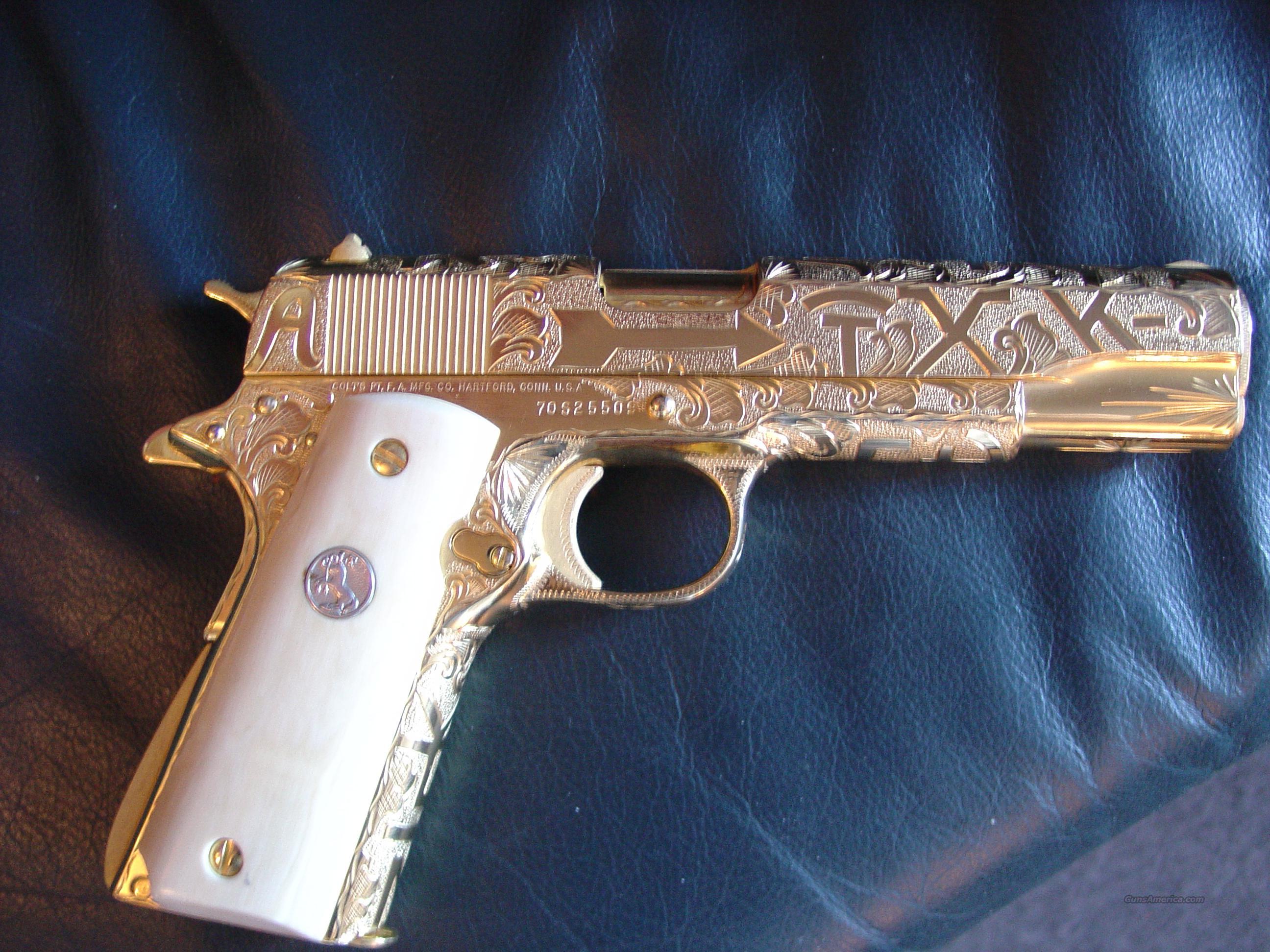 Colt Series 70,1911,38 Super,24K gold plated,re... for sale  Real Golden Guns
