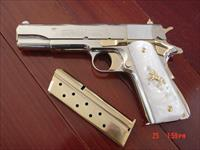 "Colt Government 38 Super,5"", fully refinished bright nickel & 24K gold,Pearlite grips,2 mags in Gold & Nickel, awesome showpiece.box,manual, never fired !!"