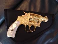 "Smith & Wesson Pre Model 10,before 1957,2"" fully 100%+ master engraved by Flannery engraving,24K gold plated,real Mother Of Pearl grips,38special,"