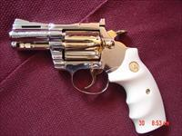 "Colt Diamondback rare 2 1/2"" heavy barrel,fully refinished in bright nickel & 24K gold,bonded ivory grips,1975,a 1 of a kind showpiece !!"