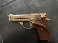 Tanfoglio Italian 380 semi auto, factory engraved & gold plated, thumb rest wood grips,