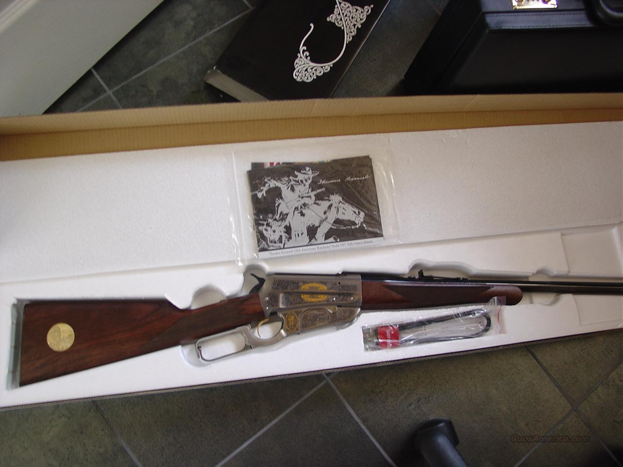 """Winchester 1895,Teddy Roosevelt Commemorative,405 Win,24"""",fully engraved  silver"""