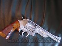 "Smith & Wesson 57-2,41 Magnum,deep scroll engraved,by Clint Finley-Master Engraver in Ca.,Armoloy coated-very strong finish,6"",wood grips,awesome one of a kind showpiece-rare !!"