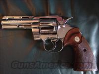 "Colt Python 4"" ,357 magnum,fully refinished in May 2014 -in bright mirror nickel,made in 1974,-40 years old,original Colt Wood grips,a real showpiece !!"