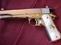 Colt Government 38 Super,refinished nickel with 24K gold accents,2 mags,one gold,custom Pearlite grips,in case with manual etc,a work of art-just done in May 2016,awesome