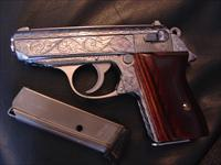 Walther PPK/Interarms,380,fully engraved by Flannery Engraving,polished stainless,custom wood grips,2 mags,box,manual & test target,looks like new, true work of art !!