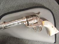 "Colt SAA, master Cattlebrand engraved,nickel refinished,4 1/2"",357 Mag,1901,real MOP grips,an awesome showpiece"