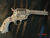 Uberti SAA Colt 45,General Patton Tribute,deep engraved, pure silver plated,faux ivory grips,stand up see through wood case,awesome showpiece !!