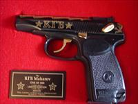 Makarov KGB Commemorative from American Historical Foundation,#27 of 1000,24k gold writing,9x18 caliber,fitted wood & Glass locking case with hang tags,unfired-awesome showpiece,made by Baikal
