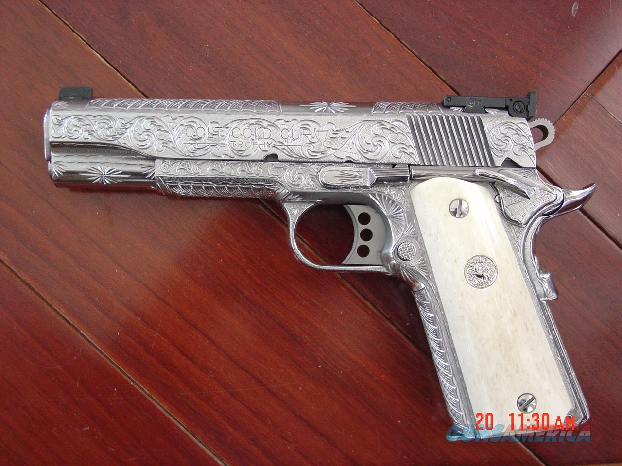 Colt Gold Cup Trophy 45acp, fully deep engraved & polished by Flannery  Engraving,genuine
