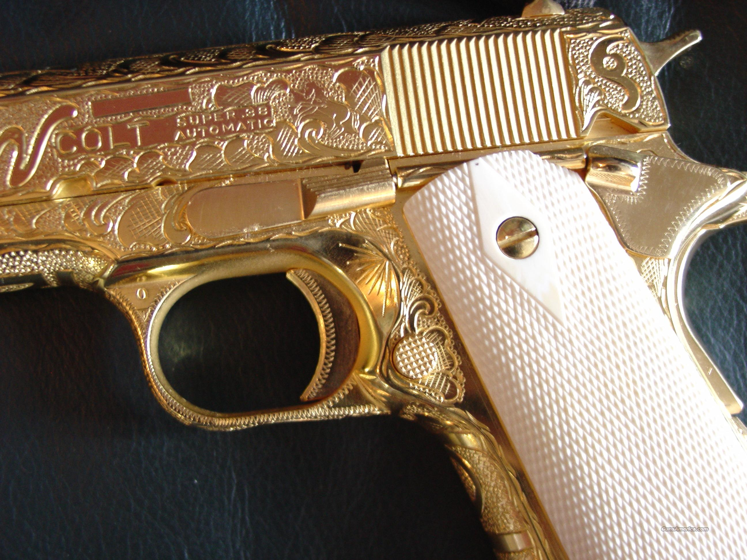 Colt 191138 Supermade In 194924k Gold Platedmaster Cattlebrand Engraved By Jeff Flanneryreal Checkered Ivory Grips A Real Piece Of Jewelry One