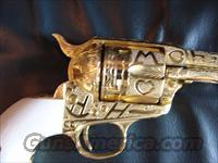 "Colt SAA,1st Generation,111 years old !!Jeff Flannery master engraved in Cattlebrand style,24K gold plated,7 1/2"",made in 1903,44 special,real ivory grips,an awesome one of a kind masterpiece work of art !!"