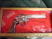 "Smith & Wesson 586-3,357 magnum,Bill Elliott commemorative,6"" engraved,polished bright nickel,wood & glass presentation case"
