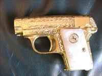 Colt 1908 Vest Pocket 25 auto,100$ + master engraved by Flannery engraving,24k plated,Pearlite grips,made in 1918, one of a kind work of art !!