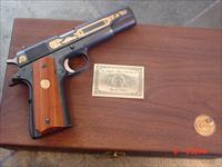 Colt 1911 Series 70 45acp,LAPD Special Edition,gold engraved on blue,rich custom wood grips,in fitted wood case,& brass LAPD plate on top,looks unfired--awesome