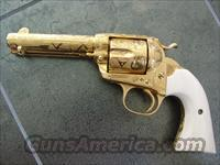 Colt Bisley SAA,1st Generation,38WCF,master engraved by Jeff Flanners,Cattlebrand style,24K plated,real ivory grips,made in 1905-a work of art-one of a kind !!