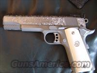 "Colt 1911,Gold Cup Trophy,45acp,5"",fully scroll master engraved slide,satin stainless,real ivory grips,original box.manual,lock & 2 mags-awesome showpiece"