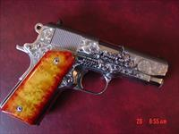 Colt Officers ACP,45 deep hand engraved,high polished bright stainless,exotic wood grips,MK IV series 80,way nicer engraving etc in person