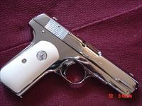Colt 1908 Hammerless,380 auto,fully refinished in bright mirror nickel,bonded ivory grips,made 1926,90 years old. a real showpiece !!