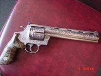 "Colt Anaconda 8"" barrel,44 magnum,fully engraved & polished by Flannery engraving,custom finger groove grips,certificate & box,made in 1995, awesome rare work of art !!"