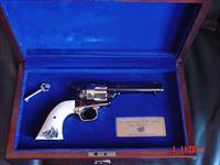 "Uberti SAA Roy Rogers commemorative, #150,4 3/4"",45LC,stag grips,gold engraved,in fitted case,never fired,awesome showpiece,gold accents !!"