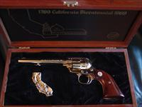 "Colt Frontier Scout 22LR,California Bicentennial 1769-1969,6"" barrel,black walnut grips,gold map of CA.,all gold plated revolver,in nice wood fitted case & unfired,46 years old"