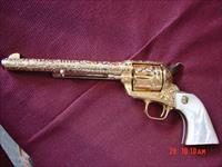 "Colt SAA 3rd Gen,44-40,7 1/2"" 24k gold plated,Flannery Cattlebrand engraved,real Mother Of Pearl grips,1982,a masterpiece  work of art !!"