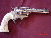 "Colt Bisley made in 1910,32WCF,4 3/4""master engraved & refinished nickel by Dwayne Woody,carved real ivory horse head with ruby eye-awesome work of art !!"